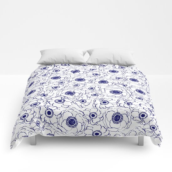 Painterly flowers indigo blue bright minimal modern painting gender neutral abstract art dorm room Comforters