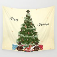 christmas tree Wall Tapestries featuring Christmas Tree by haroulita