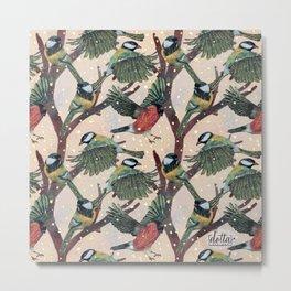 Magical Winter Wild Bird pattern Metal Print