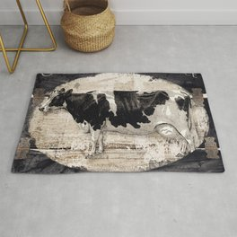 Vintage French Farm Sign Cow Rug