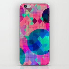 geometric square pixel and circle pattern abstract in pink blue green iPhone Skin
