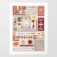 erykah badu Art Prints featuring Erykah Badu Print by Lucy Llewellyn