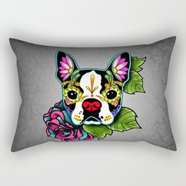 Boston Terrier in Black - Day of the Dead Sugar Skull Dog Rectangular Pillow