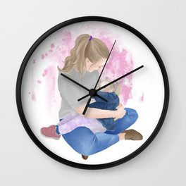 Young mother nursing her toddler daughter // watercolor portrait of crunchy mom with pink background  Wall Clock