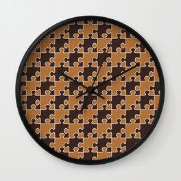 Jigsaw Puzzle Pattern - Chocolate Honeycomb Palette  Wall Clock