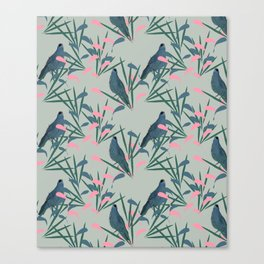 Kokako Wallpaper Pattern Canvas Print