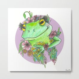 Froggy Flower Child Metal Print
