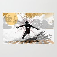 surfer Area & Throw Rugs featuring surfer by michael cheung
