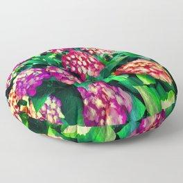 Garden Hydrangea - Raspberry Pink and Lavender Floor Pillow