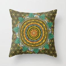 Malachite Baroque Mandala Throw Pillow