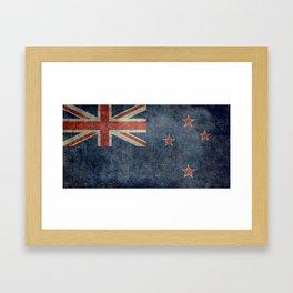 New Zealand Flag - Grungy retro style Framed Art Print