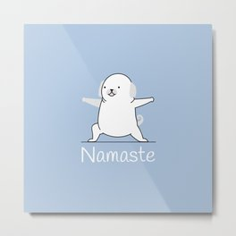 Namaste Yoga Dog Pastel Blue Metal Print