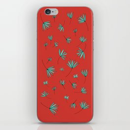 Teal and Red Botanical Nature Drawing by Emma Freeman Designs iPhone Skin
