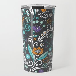 Flower circle pattern, brown Travel Mug