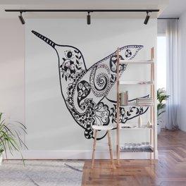 Humming bird black and white Wall Mural