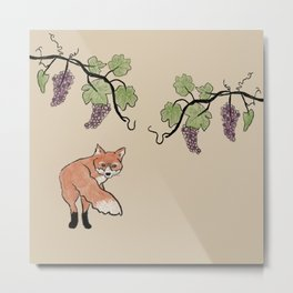 Fox Stealing Grapes Metal Print