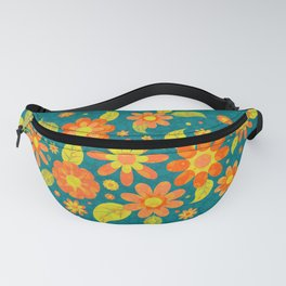 Daisy Spread - Gold to Red - on Teal (pattern) Fanny Pack