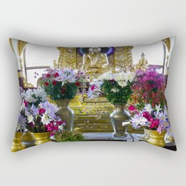Buddha Shrine a Kuthodaw Pagoda, Myanmar Rectangular Pillow