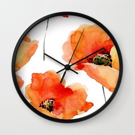 Modern hand painted orange watercolor poppies pattern Wall Clock