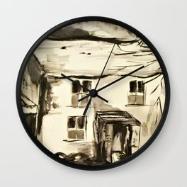 Welsh farm house, pen and ink wash, Wales Wall Clock