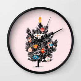 Retro Christmas tree no3 Wall Clock