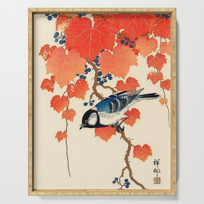 Vintage Japanese Bird and Autumn Grapevine Serving Tray