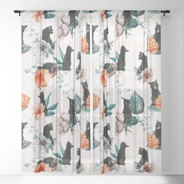 Black Cats for Luck Sheer Curtain