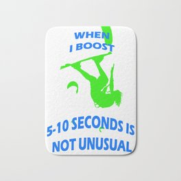 When I Boost 5-10 Seconds Is Not Unusual Neon Lime and Blue Bath Mat
