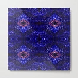 Psycho - Deep Blue and Pink Pattern Abstract by annmariescreations Metal Print
