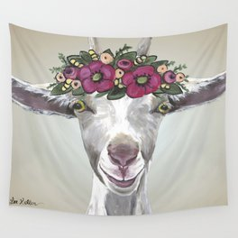 Flower Crown Goat Tan, Cute Goat Painting Wall Tapestry