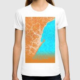 Messina, Italy, Gold, Blue, City, Map T-shirt