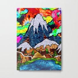 Rainbow Tie Dye Snow Mountains Metal Print