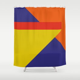 Random colored parallelepipeds flying in a cool blue space Shower Curtain