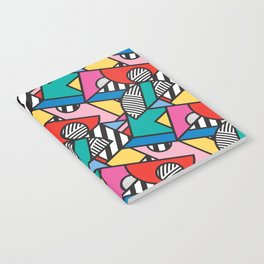 Colorful Memphis Modern Geometric Shapes - Tribal Kente African Aztec Notebook