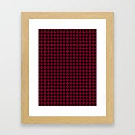 Black and Burgundy Red Diamonds Framed Art Print