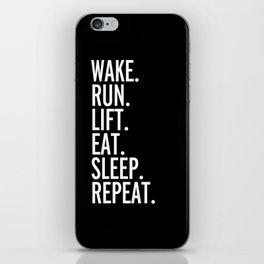 Run, Sleep, Repeat Gym Quote iPhone Skin