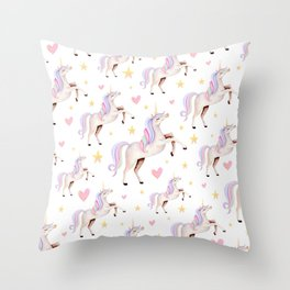 Rainbow Unicorns — Hearts & Stars Throw Pillow