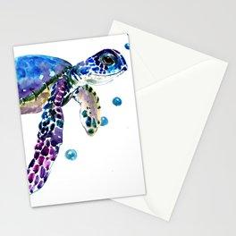 Sea Turtle, blue purple illustration children room cute turtle artwork Stationery Cards