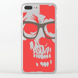 limited edition:amazing skull with glasses red background Clear iPhone Case