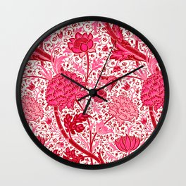 William Morris Jacobean Floral, Coral Pink and Fuchsia Wall Clock