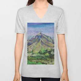 The view from Mashuk mountain (Pyatigorsk). Ladscape be pastel Unisex V-Neck