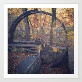 Water wheel (in late fall) Art Print