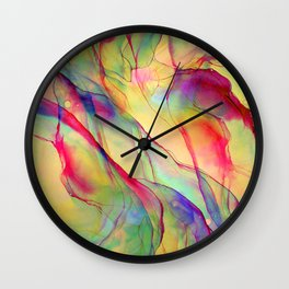 Neon Pop - Tropical Ink Painting Wall Clock