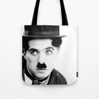 charlie chaplin Tote Bags featuring Charlie Chaplin by Thousand Lines Ink