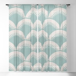 Japanese Fan Pattern Foam Green and Beige Sheer Curtain