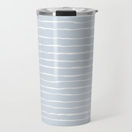 Grey and White Winter Stripes Travel Mug