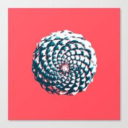pine cone pattern in coral, aqua and indigo Canvas Print