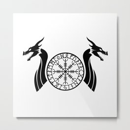 Norse Dragon - Helm of Awe Metal Print