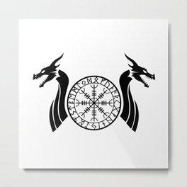 Norse Dragon - Helm of Awe Metal Print