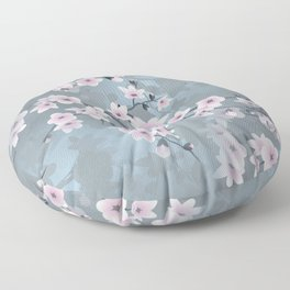 Dusky Pink Grayish Blue Cherry Blossom Floor Pillow